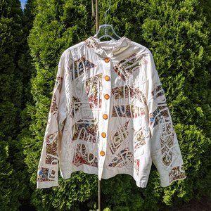 Vintage Boho Life Style Colorful Applique Jacket